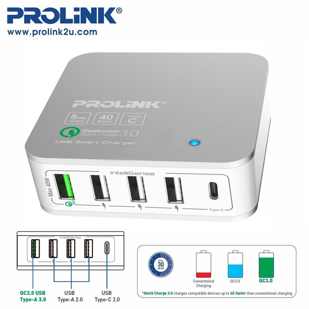 PROLiNK 40W 5-Port USB Charger USB-C Qualcomm QC3.0 Fast Charging Advanced Protection Safety Certification PDC54001