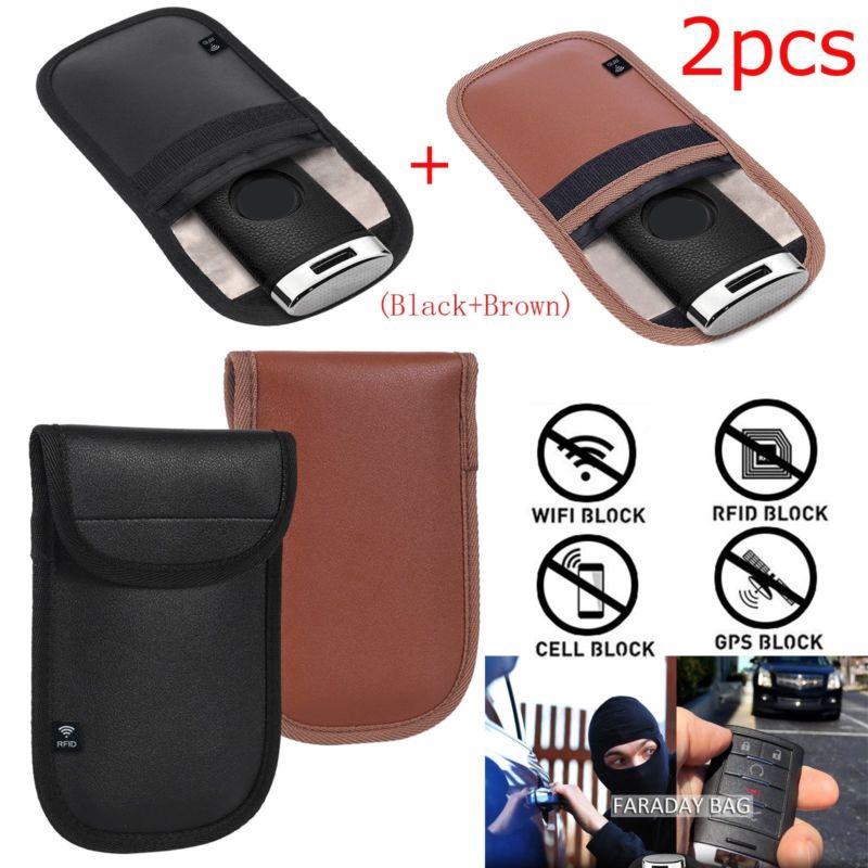 88ddb2cdd320 2* Uanti-theft Faraday Cage Fob RFID Signal Blocking Pouch Bag Shield  Durable