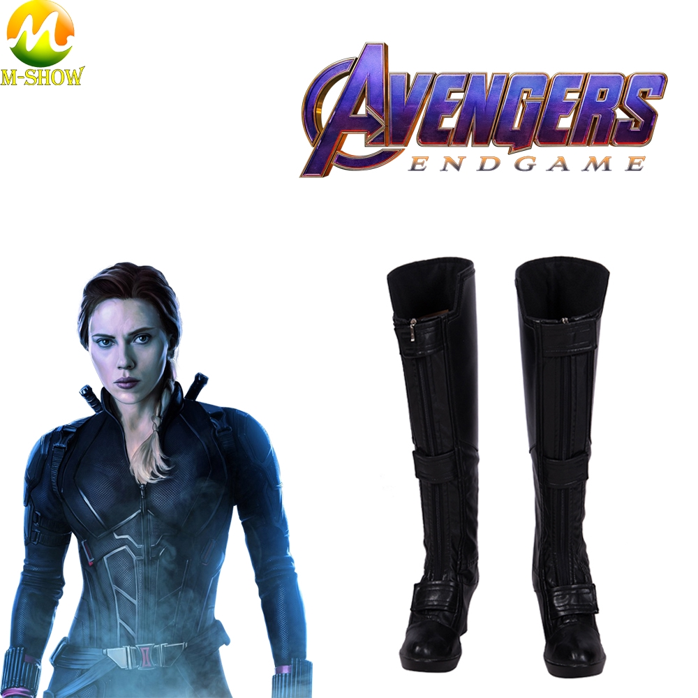 Avengers Endgame Black Widow Cosplay Boots Natasha Romanoff Shoes Black Leather Boots For Women