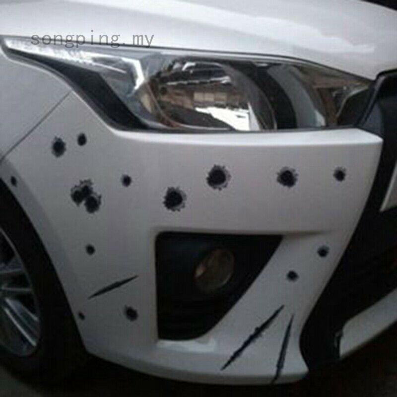 Waterproof 3D Bullet Holes Car Sticker Scratch Decal Motorcycle Stickers 21X30CM