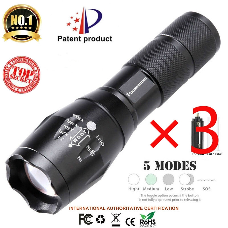 13000lm USB Rechargeable LED Tactical Flashlight Zoomable Torch Shadowhawk X800