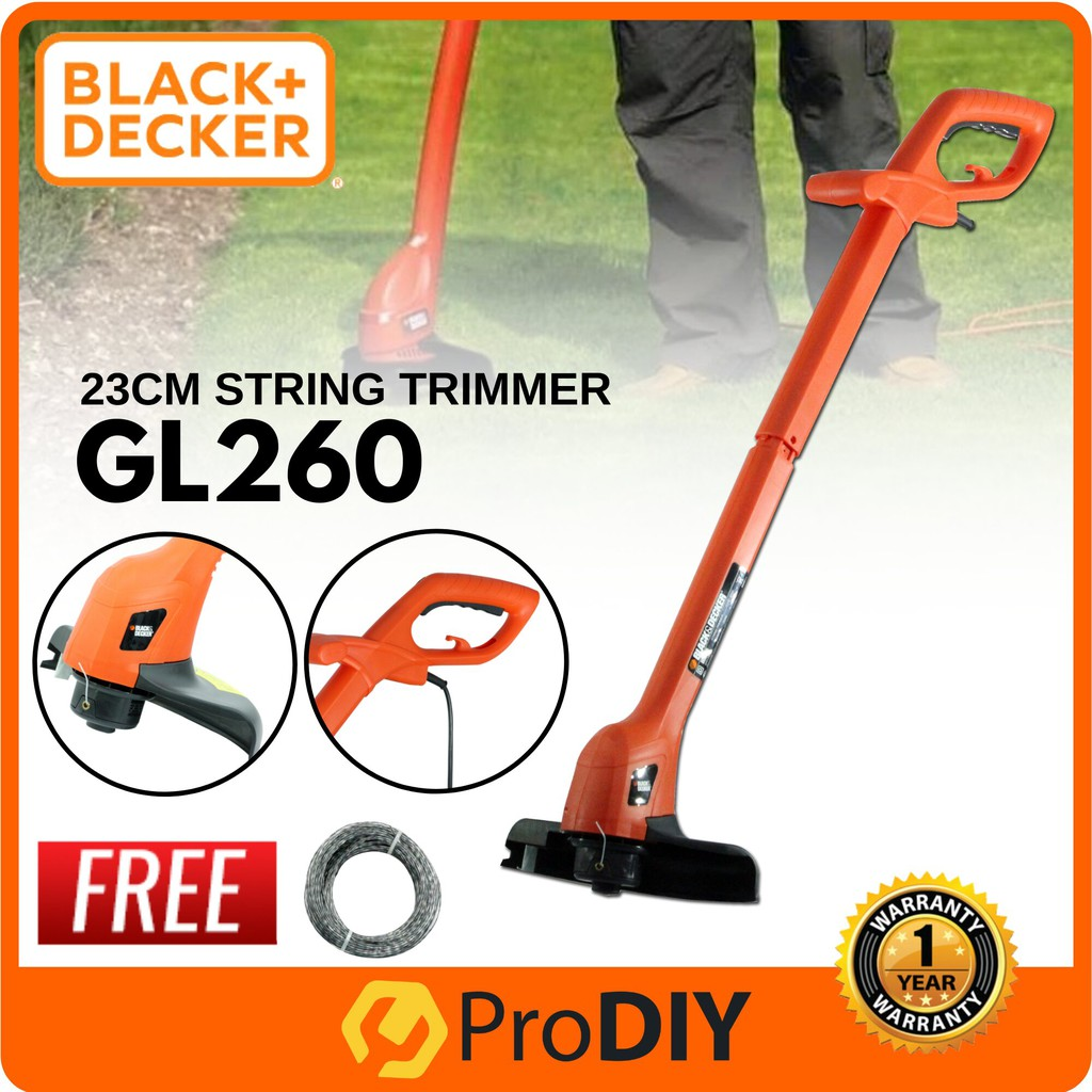 BLACK & DECKER GL260 250W String Grass Trimmer Mesin Rumput FOC Trimmer  Line (Random Colour)
