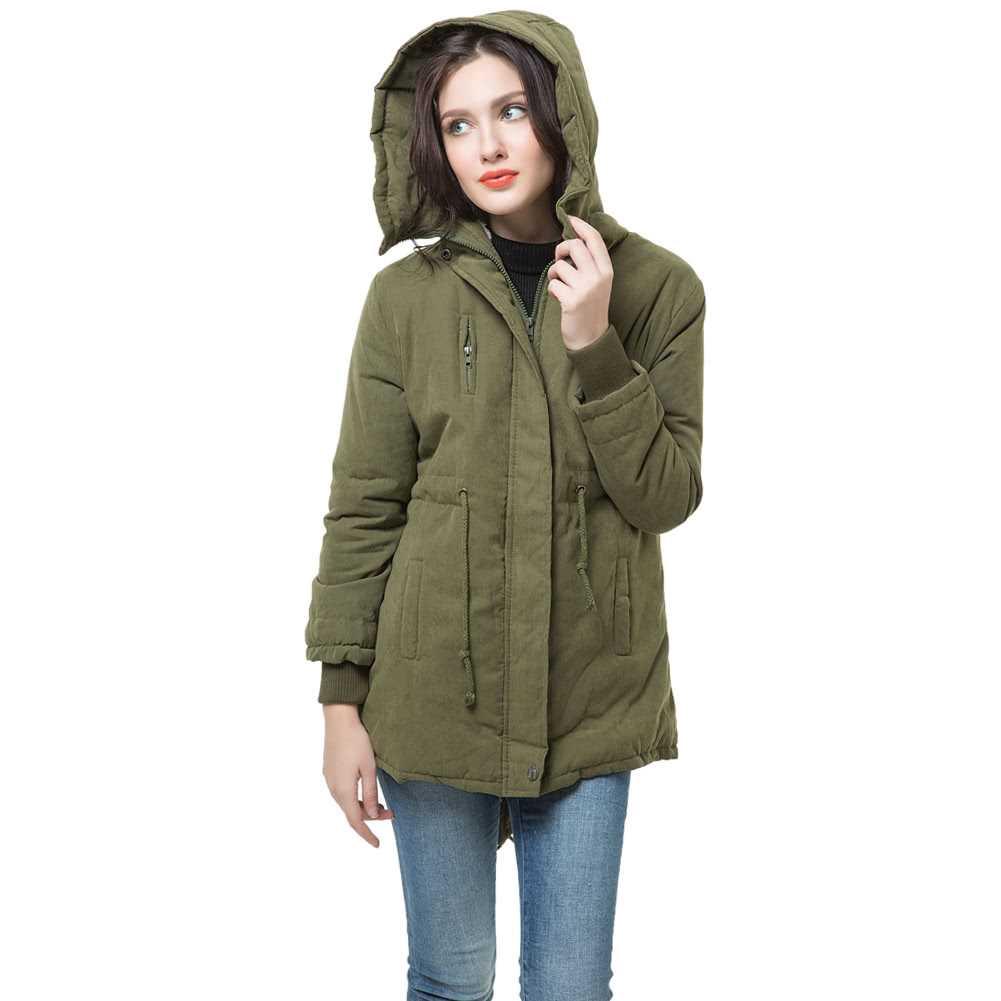 Winter Fashion Women's Fleece Parka Warm Coat Hoodie Overcoat Long Jacket (Army Green)