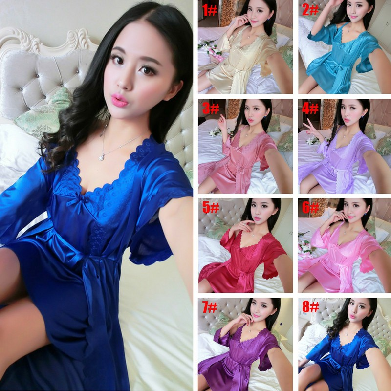 c46a175c06 Summer ladies sexy 2 In 1 Premium Quality Nightwear Home Silk Pajamas