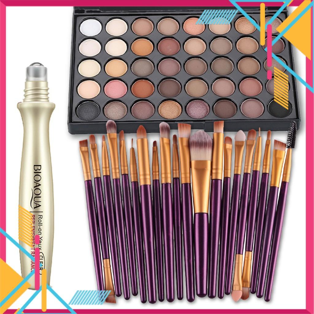 BIOAQUA Eye Essence with 40 Colors Eyeshadow Makeup Brush Set (20 Pcs)