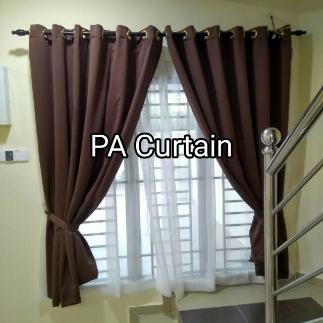 1 Set Langsir Tebal Curtain Tingkap Sliding Pintu Ring Eyelet Cangkuk Sho Malaysia