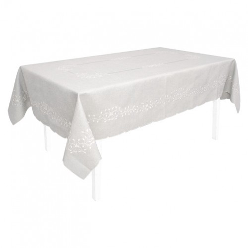 Vintage Embroidered Ivy Leaf Rectangle Tablecloth With Scalloped Finished Edge. 150x230cm. Grey