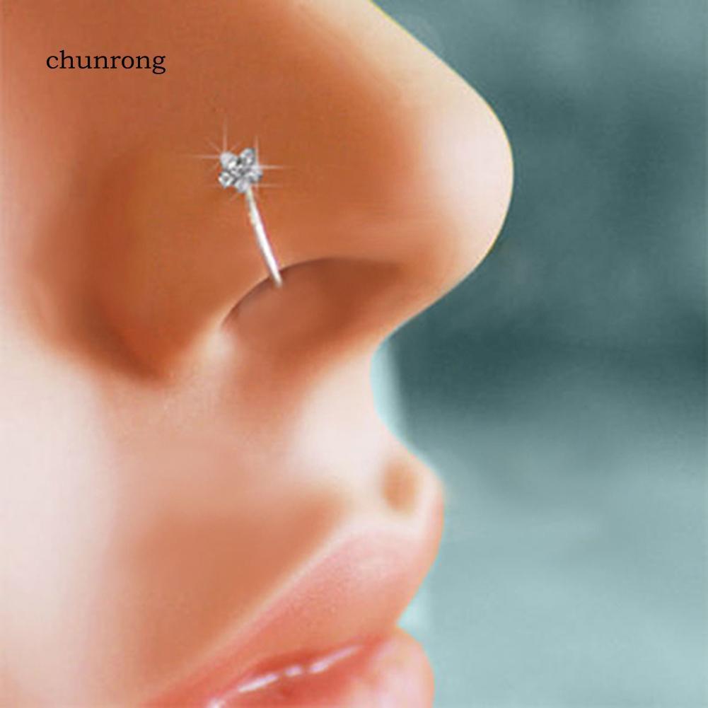 Chu Unisex Plum Flower Rhinestone Nose Stud Hoop Sparkly Nose Ring Body Piercing