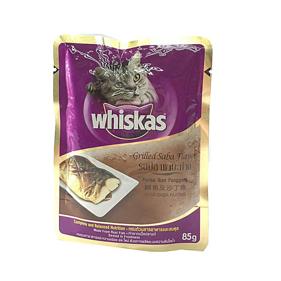 Whiskas Grilled Saba Fish Pouch Cat Food 85g X 6