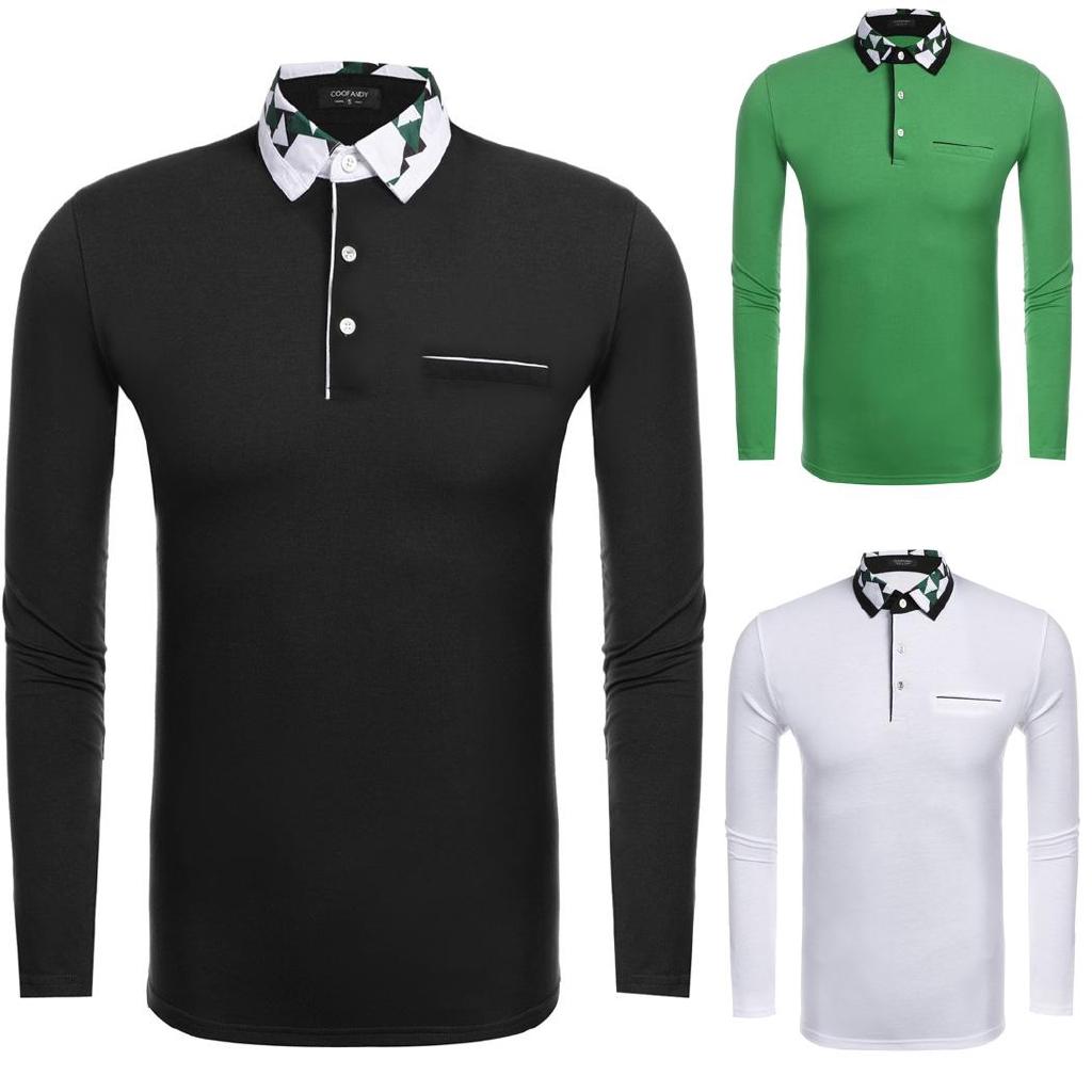 47629faf ProductImage. ProductImage. Te Mens Casual Long Sleeve Color Block Slim  Print Polo Shirt