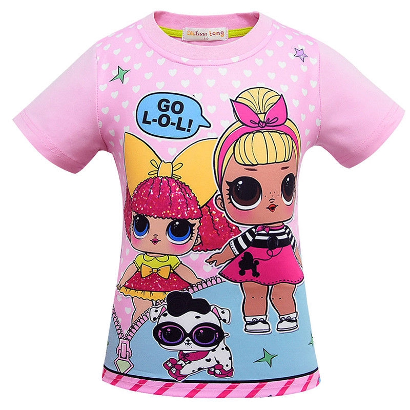 Lol Surprise Dolls Girls T Shirt Kids Short Sleeve T Shirts Clothes Tops 3-9Y