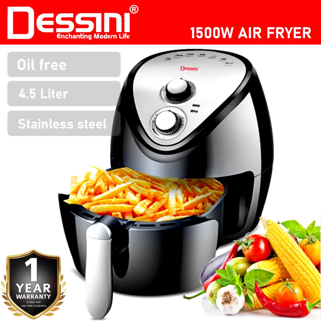【ORIGINAL】 DESSINI ITALY 4.5L Electric Air Fryer Timer Oven Cooker Non-Stick Fry Roast Grill Bake Machine
