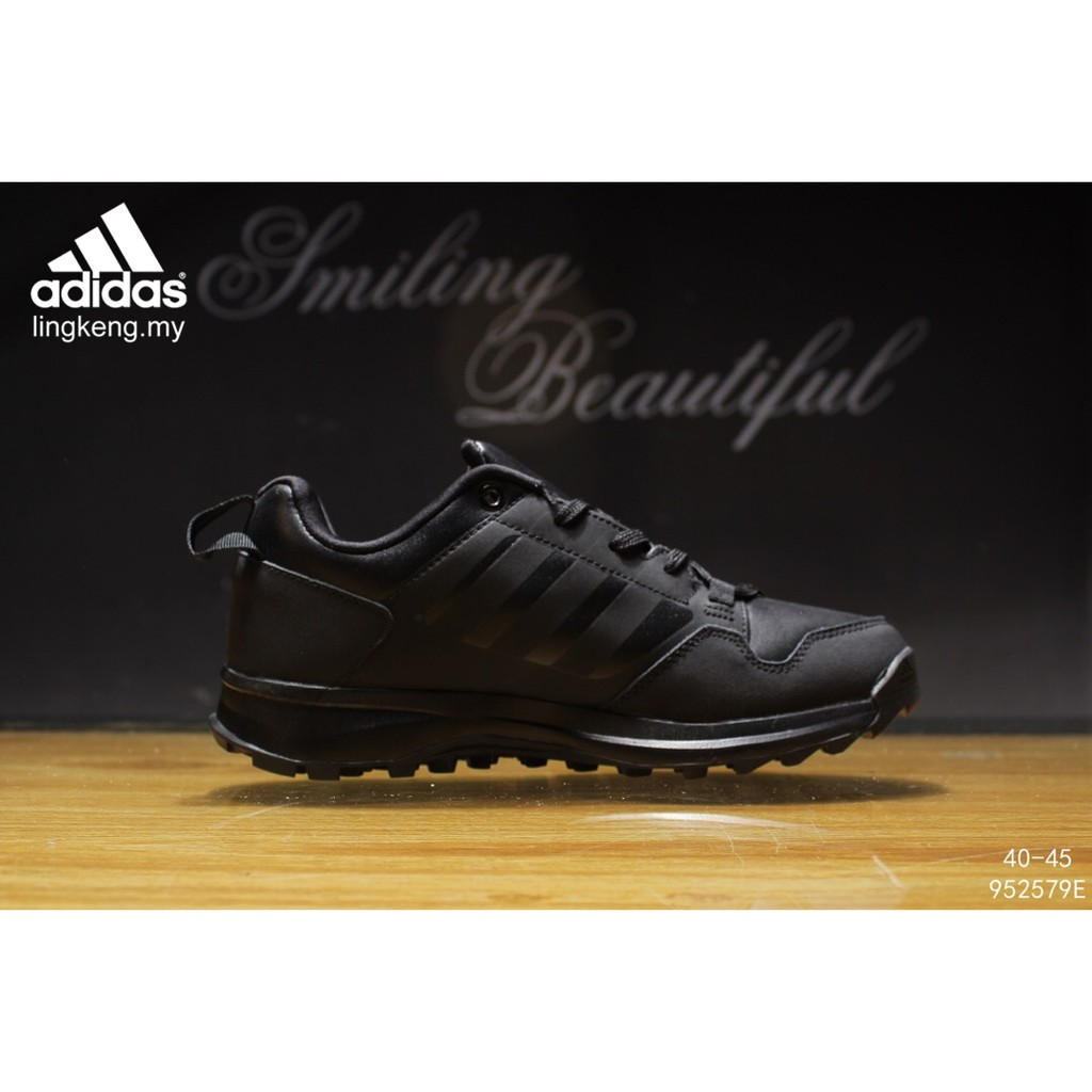 a1e96fb520b Adidas Traxion Running Training Sports Black Leather Men Outdoor Hiking  Shoes