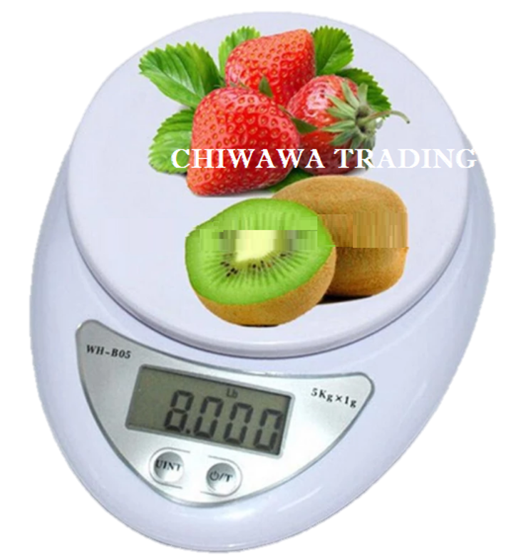 Electronic Digital Scale 5kg Kitchen Weighing Scale, Food Diet Postal (White)