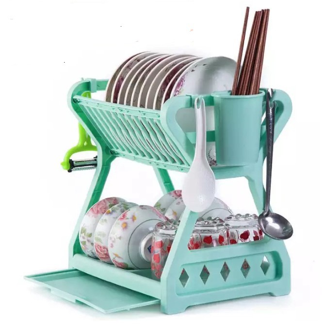 READY STOCK SHP] 2 TINGKAT RAK PINGANG MANGKUK / 2 Tier Layer Amazing Dish Rack Dish Drainer Kitchen Storage Organizer