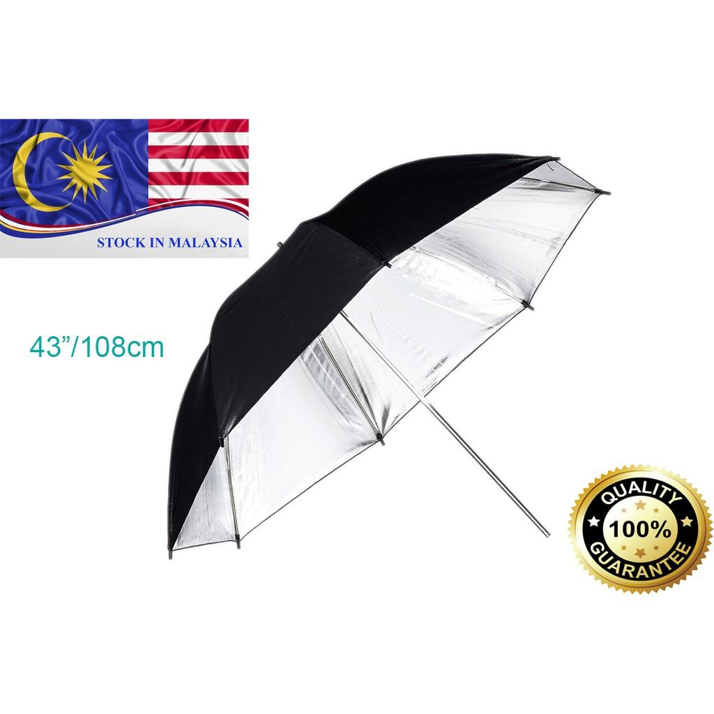 109cm 43inch camera flash black & silver studio umbrella (Ready Stock In Malaysia)