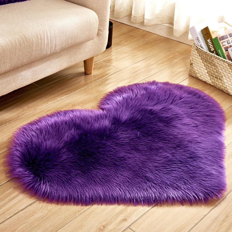 [ READY STOCK ]  Imitation Wool Sheep Skin Rug Faux Fur Non Slip Shaggy Love Carpet Mat Washable Jualan Murah Bedroom