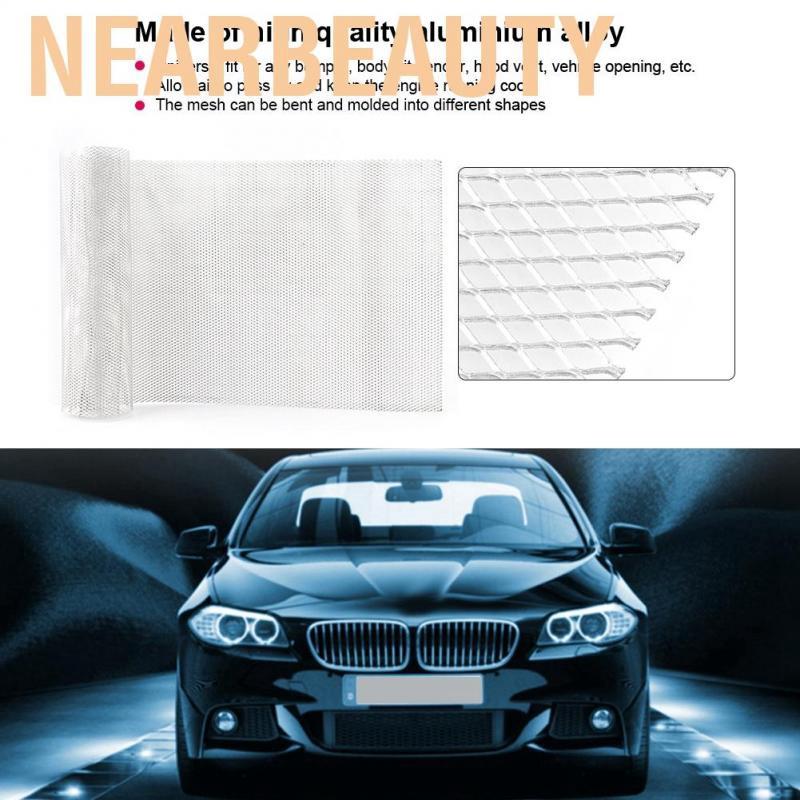 Silver 3x6mm Aluminium Alloy Car Grille Mesh Sheet Grid Body Bumper Rhombic Grill Universal Car Grille Mesh