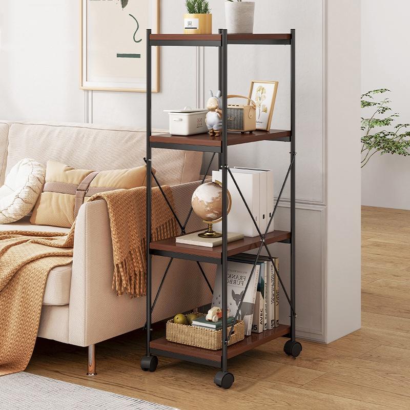 GDeal Four Layer Living Room Shelf Floor Standing Storage Rack Organizer Shelf With Wheels