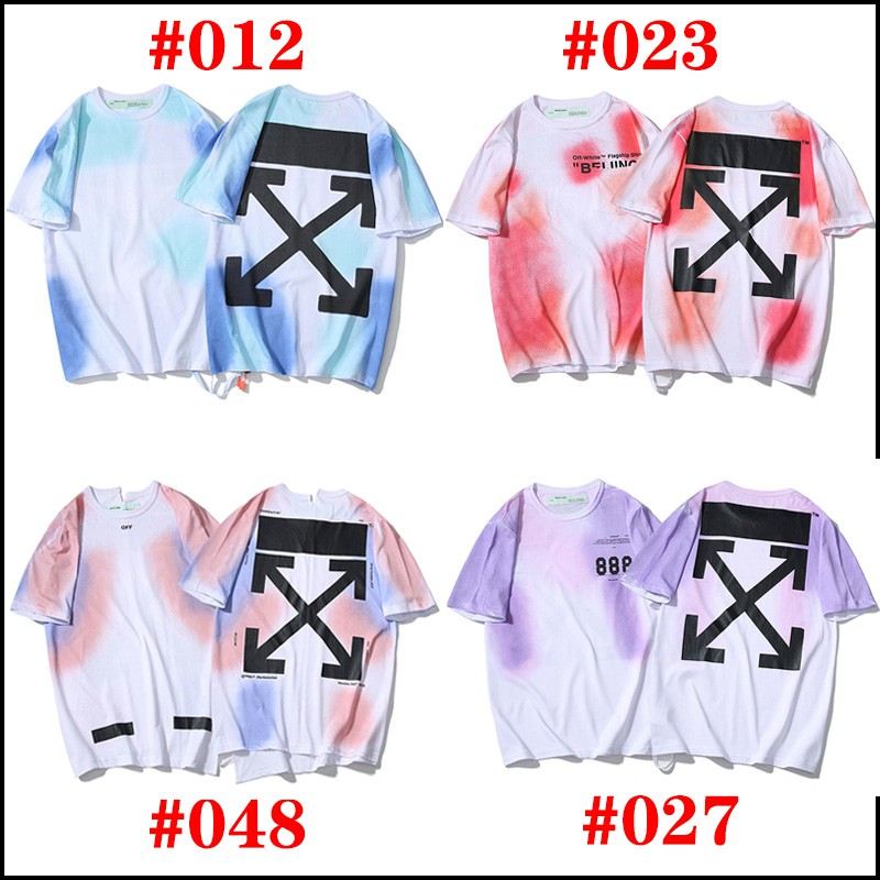 Unisex Off White Camo Blue Arrow Hip-hop Sports Cotton T-shirt US Size S-XL