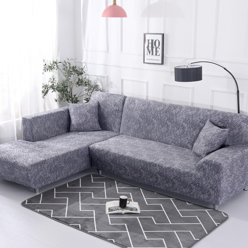 L-Shaped Sofa Cover Stripe Printed Gray Old furniture Cover Protector
