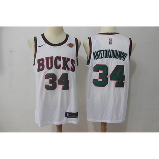 best service c6437 8728c *Ready Stock* Original NIKE NBA Milwaukee Bucks Giannis Antetokounmpo #34  retro basketball jersey S-XXL