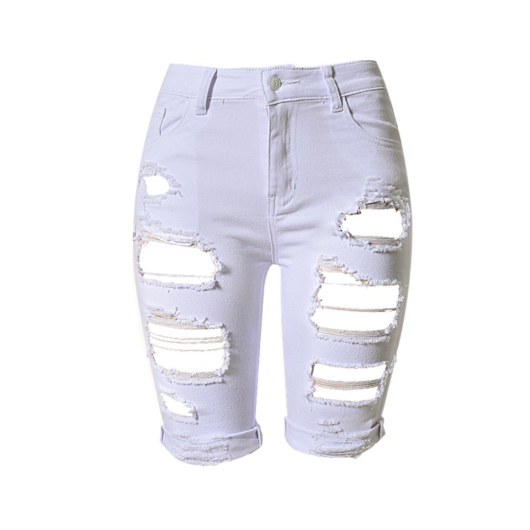 currency Waste swing  White Jeans Women Summer Streetwear Stretch Skinny Hole Destroyed Jeans  Plus Size High Waist Ripped Short Jeans For Women Knee Length Denim Pants |  Shopee Malaysia