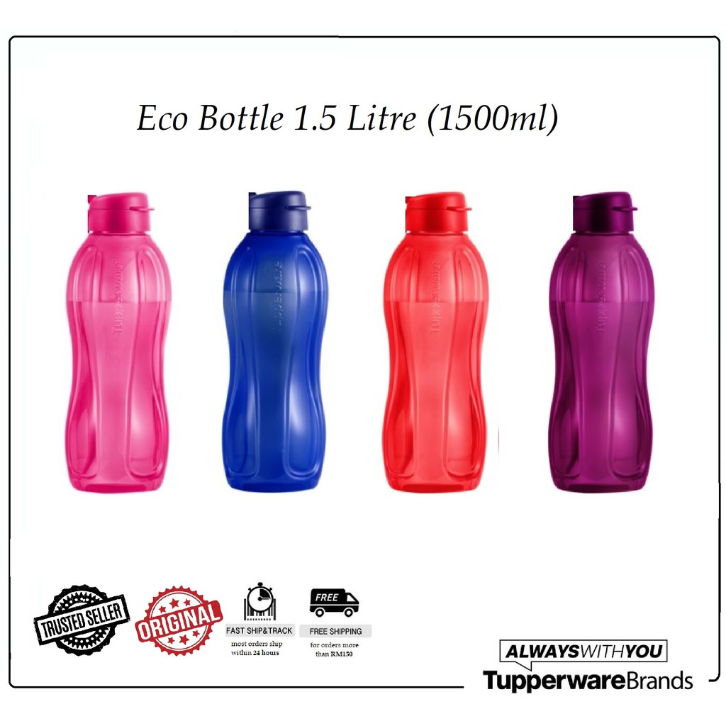 Tupperware Eco Bottle 1.5L Flip Top Red Purple Blue Pink BPA Free Water Bottle Botol Air 1.5 Litre Bekas Air Minuman