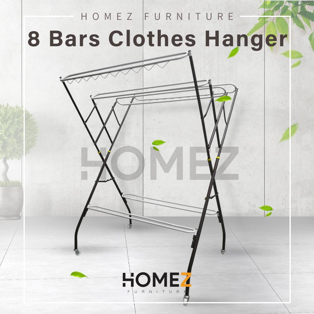 Kitchen Z Cloth Hanger Drying Rack / Rak Baju /Powder Coat Anti-Rust Paint by 3V - 4PA640S (8+4 Bars) Copper Hammertone