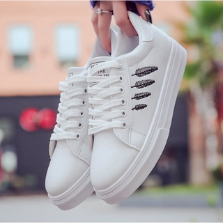 White Shoe Woman Flat PU Leather Board Casual Shoes Sneakers