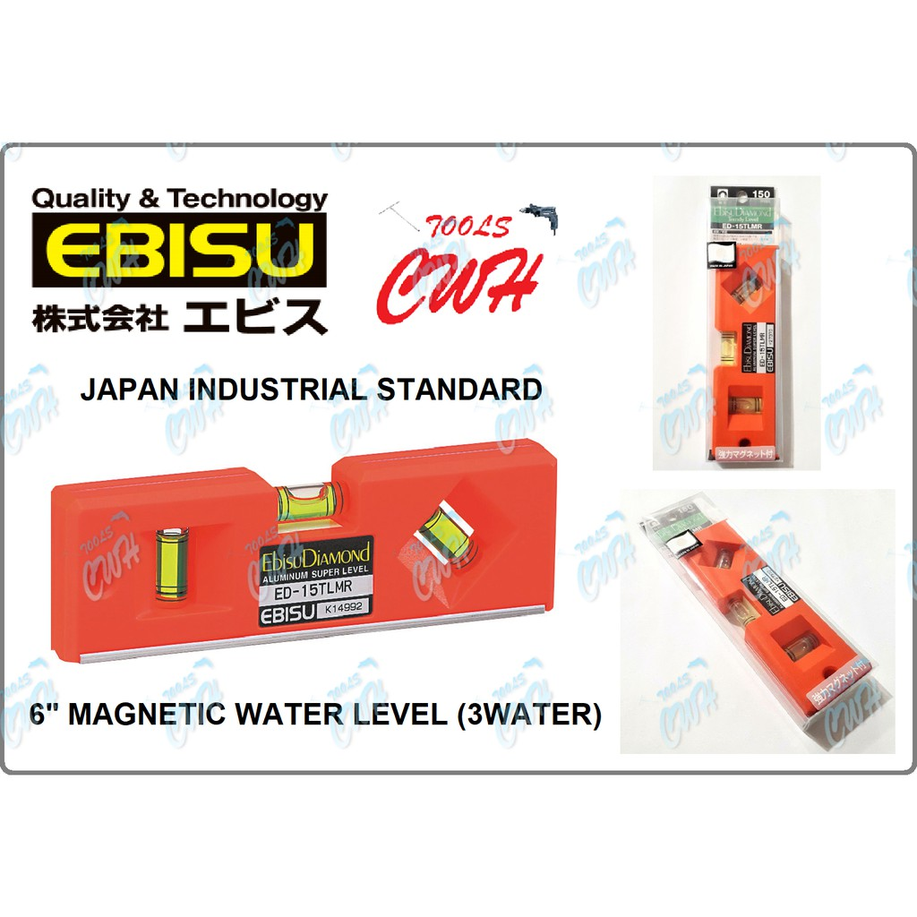 "6"" EBISU DIAMOND MAGNETIC TRENDY WATER LEVEL BALANCER VERTICAL HORIZONTAL"