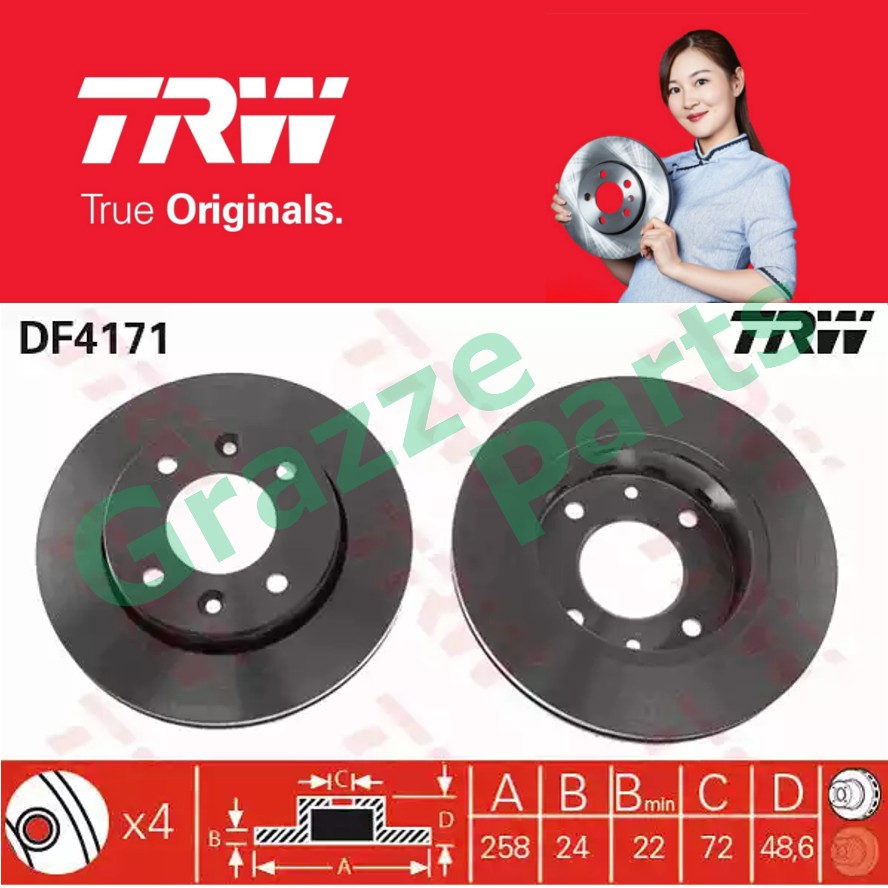 (2 pcs) TRW Disc Brake Rotor Front for DF4171 Kia Carens I 2000-2002 (258mm)
