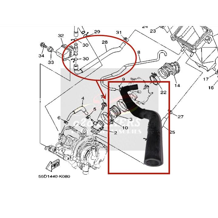 100% ORIGINAL HONG LEONG YAMAHA LC135 V1~V6 HOSE BAND JOINT PIPE RESONATOR TO AIR FILTER BOX KOTAK ANGIN LONG PIPE GETAH