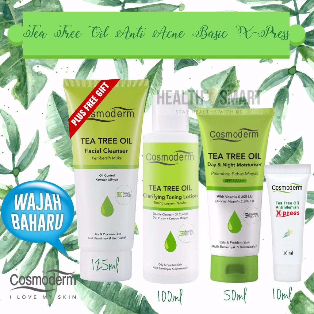 Cosmoderm Tea Tree Oil Anti Acne Set [Cleanser+Toner