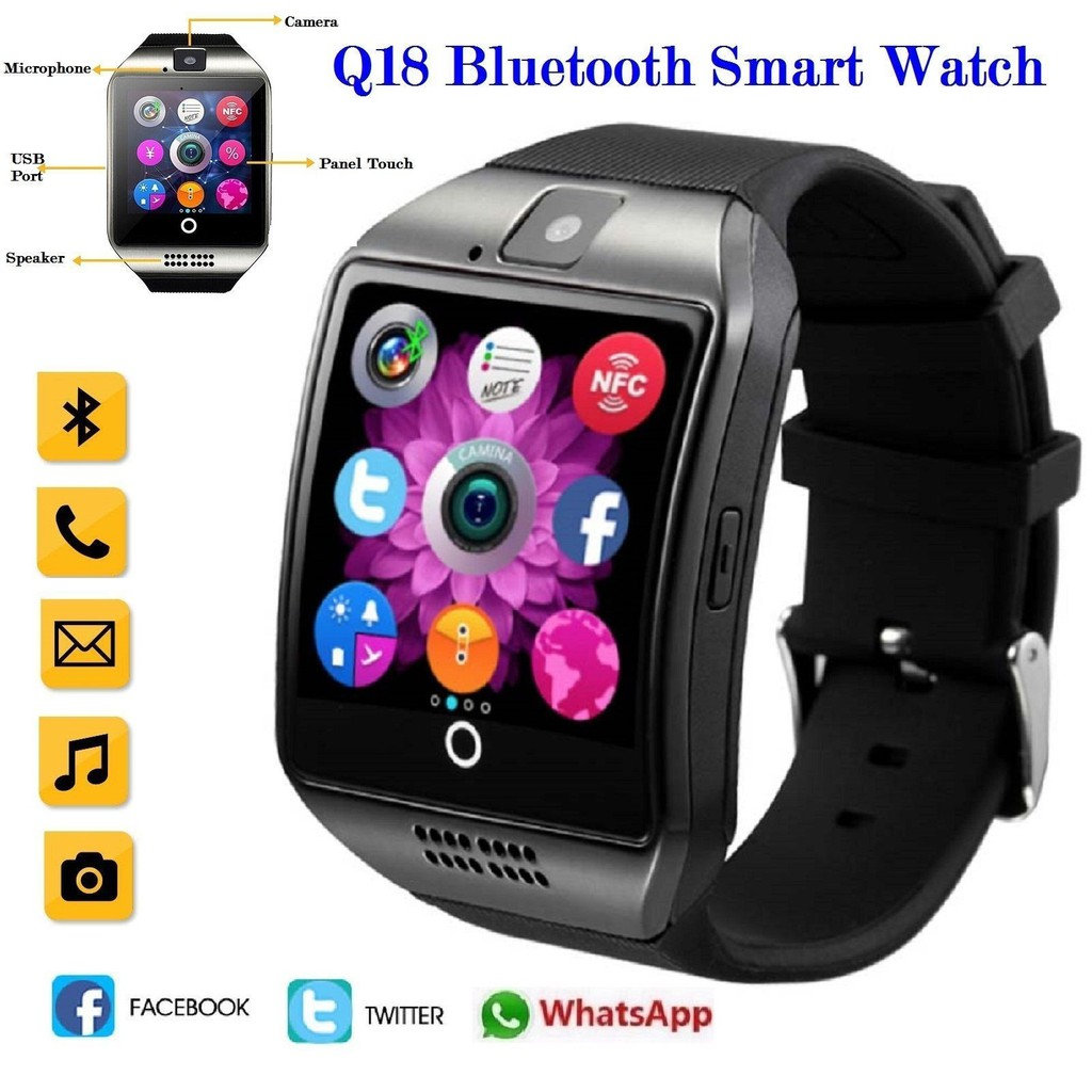 Q18 Bluetooth Smart Watch Support SIM Card Camera For Android IOS | Shopee Malaysia