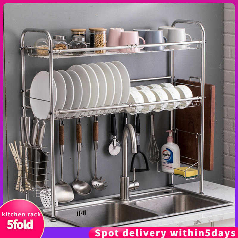2 Layer Kitchen Rack Sink Top Bowl Storage 304 Stainless Steel Height Adjustable Sink Drying Drain Dish Rack With Chopstick Rack Shopee Malaysia