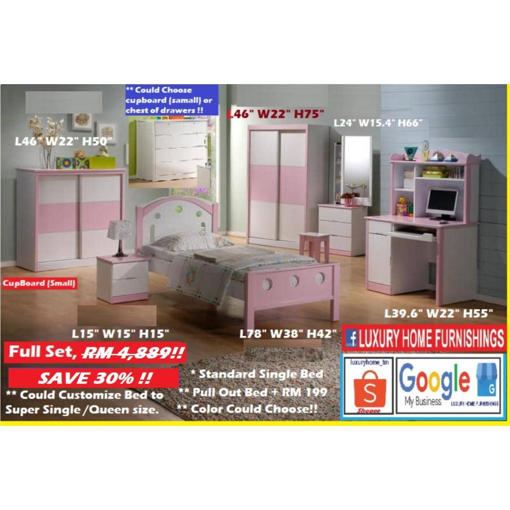CHILDREN BED ROOM SET, FULL SET without MATTRESS,  RM 4,889!! BIG SAVE HARI RAYA OFFER, SAVE 30%!!