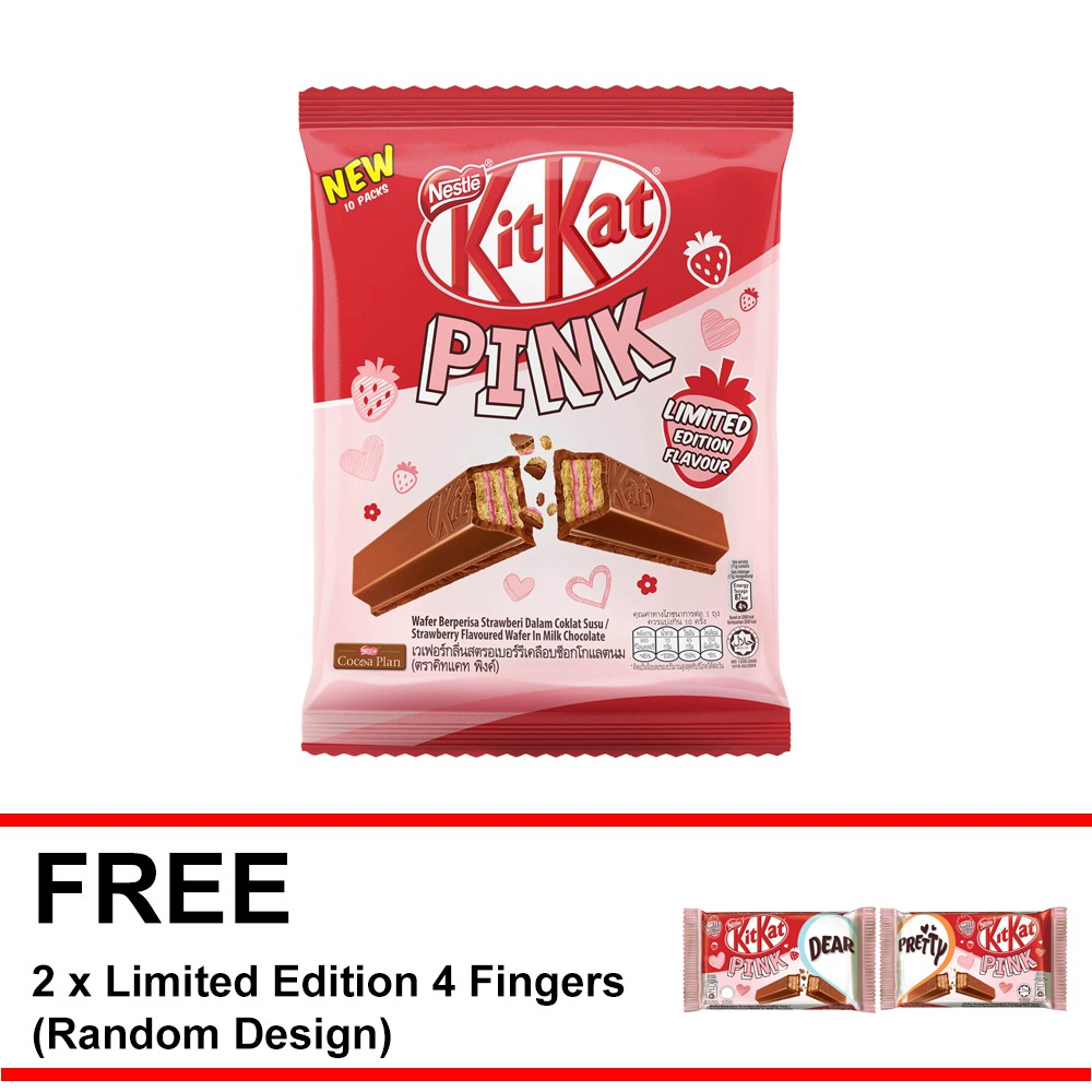 Kitkat Pink Share Bag 10 Pieces Free Limited Edition 4 Finger X 2 Susu Milo 1 Kg Activ Go Malaysia Shopee