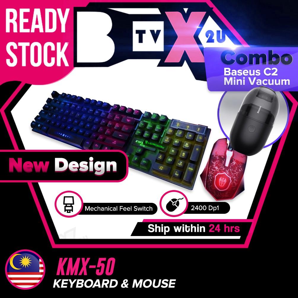 Eweadn KMX50 LED Gaming Keyboard + Optical Wired Mouse Sets USB Full Back-lit light Mechanical Feel Gamer Keyboard combo