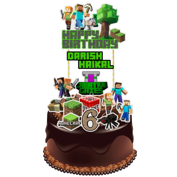 Awesome Minecraft Cake Topper Shopee Malaysia Birthday Cards Printable Giouspongecafe Filternl