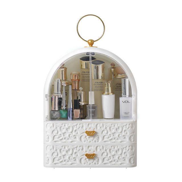 [ READY STOCK ]  European Baroque Dust Proof Cosmetic Rack Storage Drawer Beauty Box Makeup Jualan Murah Mask Skin Care