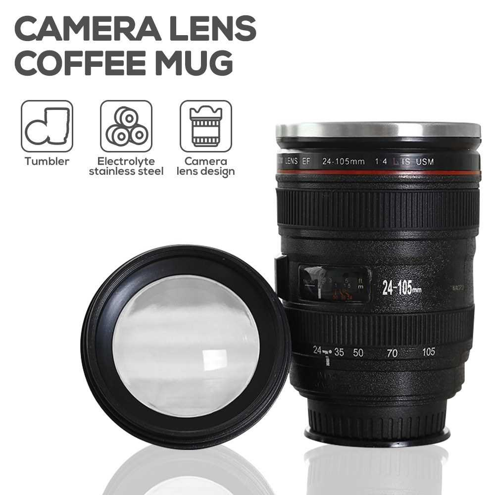 Camera Lens Coffee Mug Stainless Steel Sealed with Lid Photographer Camera Mug Travel Coffee Cup Magic Sucker Cup Coffe