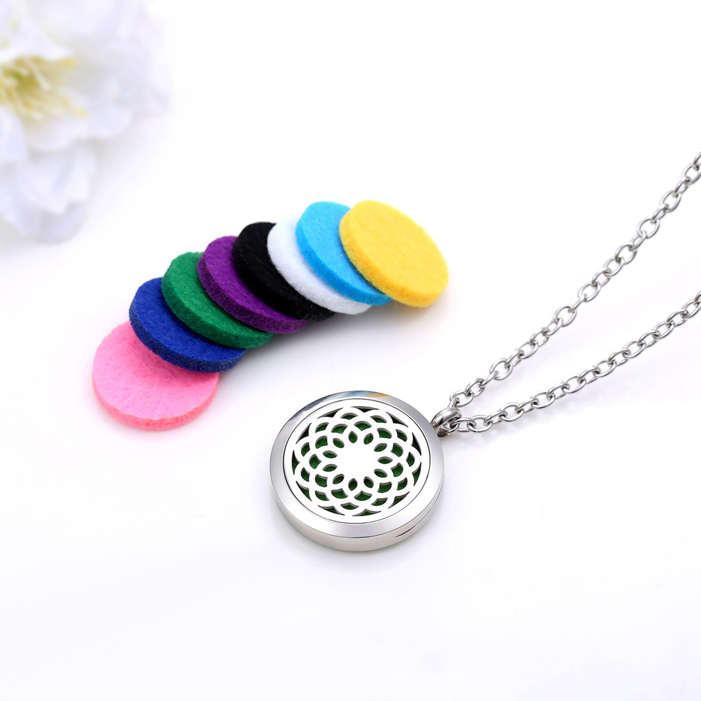 AZORA Car Vent Clip Locket Essential Oil Diffuser Pendant Aromatherapy Crystal Stainless Steel Jewelry with Felt Pads by