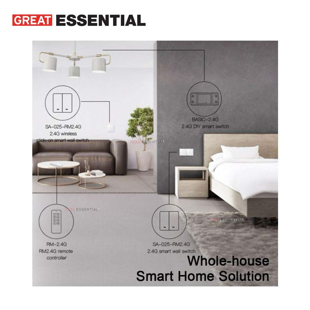Smart WiFi wall switch (No need Neutral) 2/3 gang wall switch support eWelink
