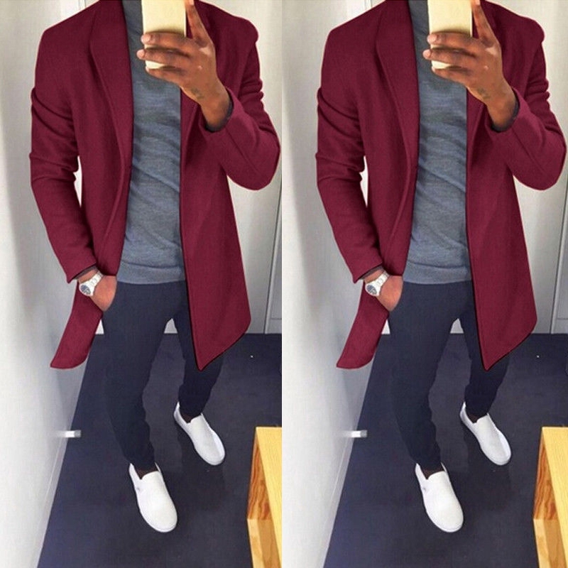 Men Winter Fashion Warm Thick Jacket Trench Slim Fit Coat Peacoat Long Overcoat