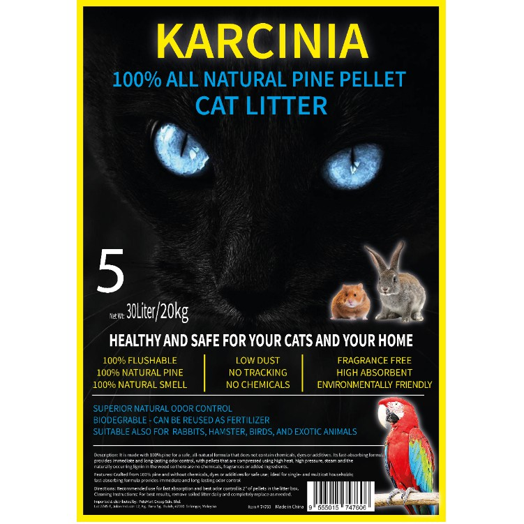 (NEW ARRIVAL) 20kg KARCINIA Eco Natural Pine Wood Cat Litter | Pasir Kucing Kayu Pine 20kg 30Liters