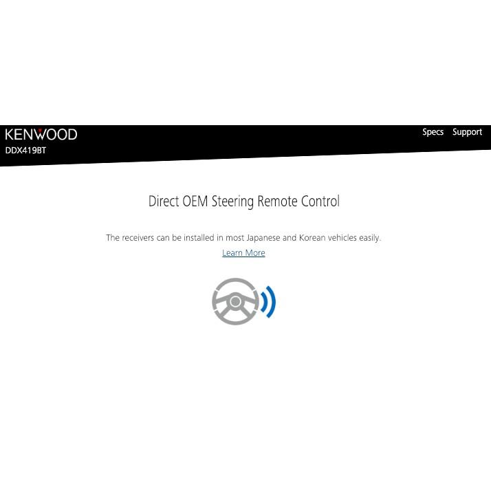 "Kenwood AV Receiver with WVGA Display (6.2"") DDX-419BT"