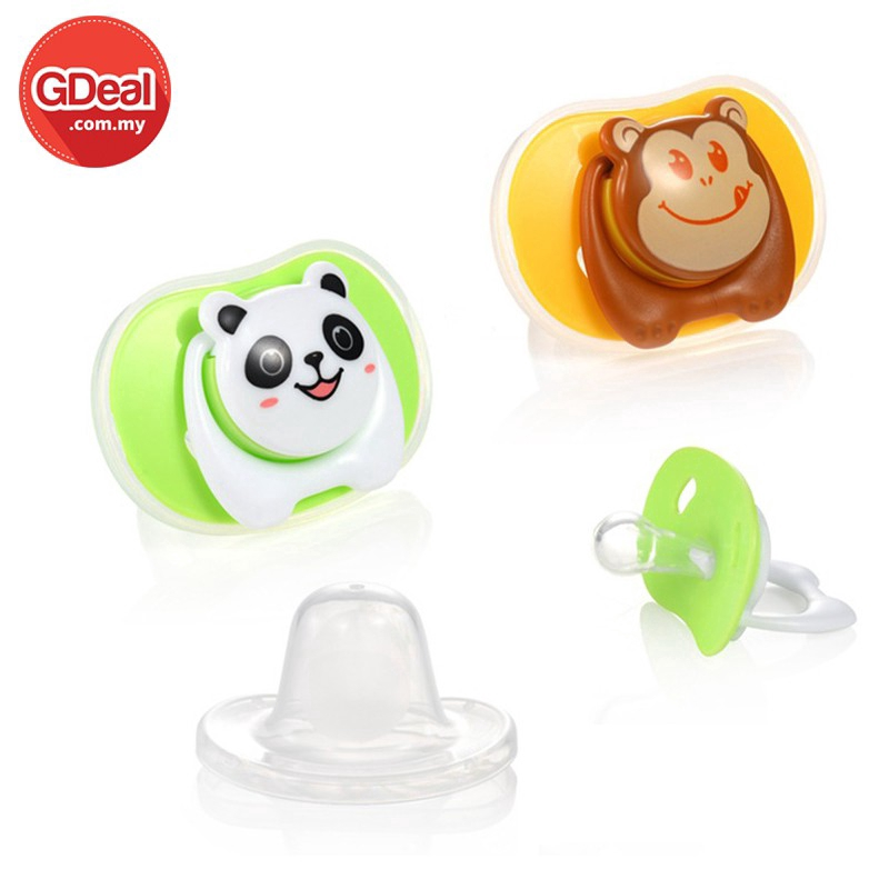 Newly Newborn Kids Baby Cartoon Infant Pacifier With Dust Cover Round Cute Head