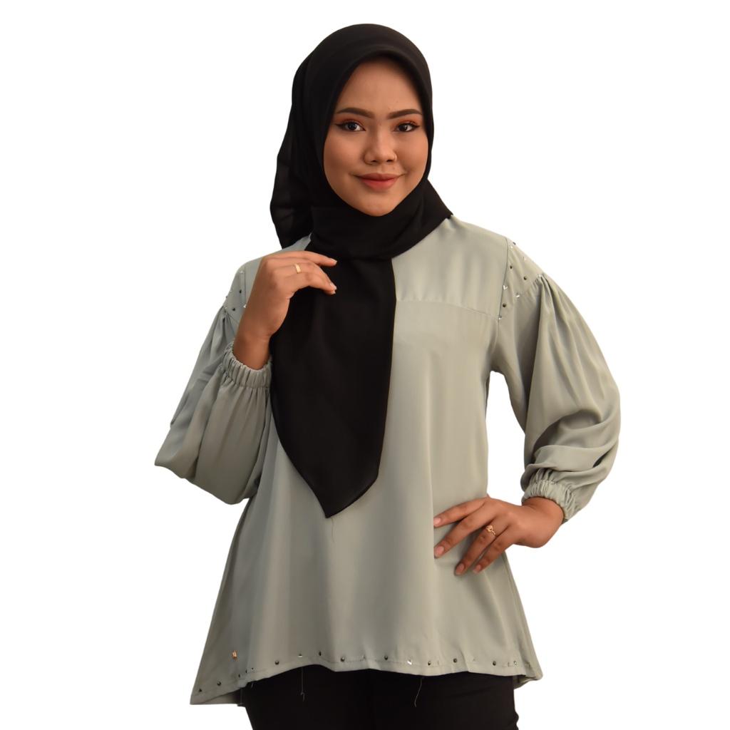 [Readystock] ALEESYA  Muslimah Fashion Blouse Design - Premium Valentino Silk  Long Sleeves Plain