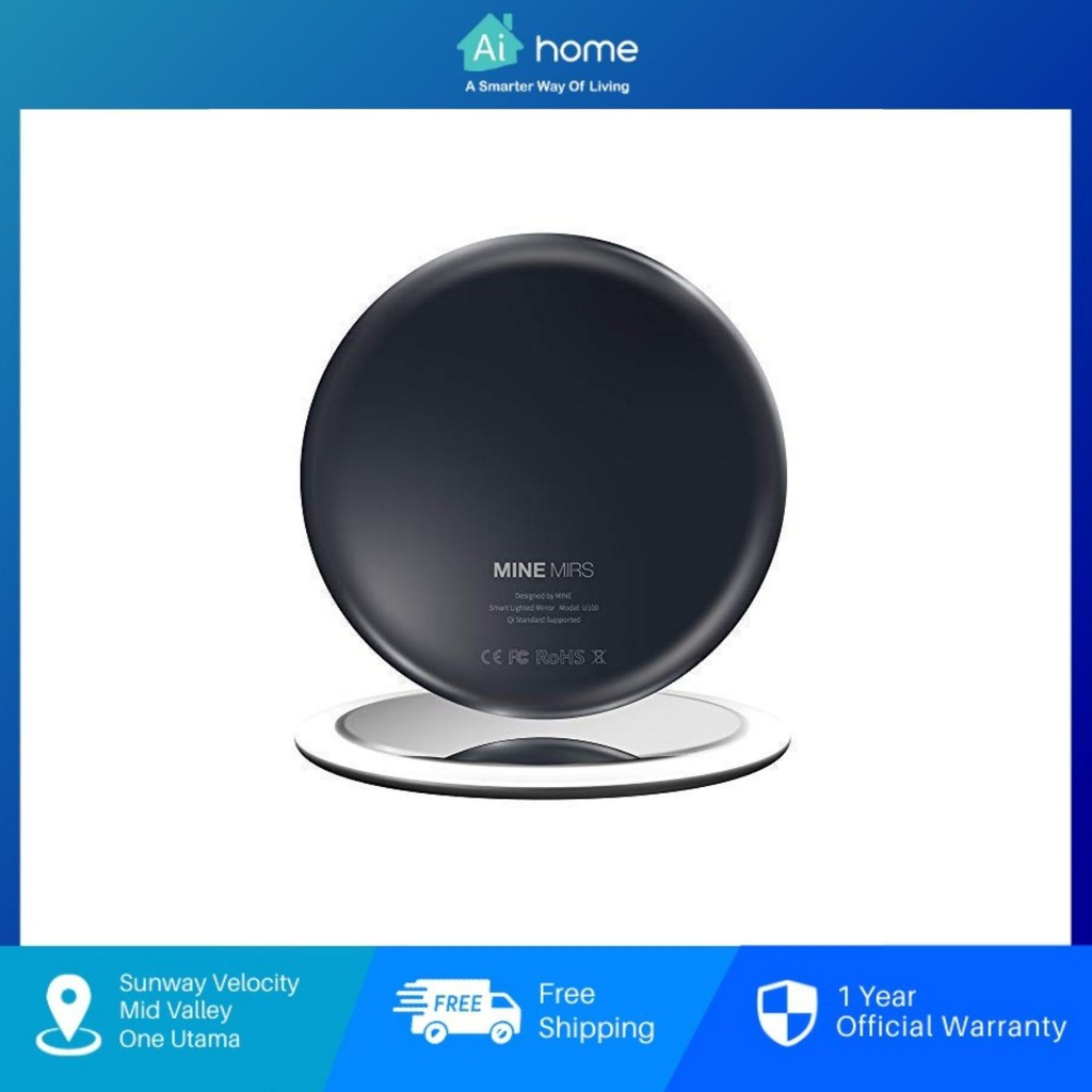 MINE MIRS Smart Portable Gesture Lighted Mirror - IF Design Award | Waterproof | Wireless Charge | 0.6cm | 36g [ Aihome]